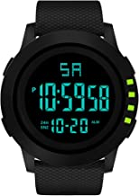 NXDA LED waterproof watch luxury men's sports watch analog digital display date and time military training watch (Green)