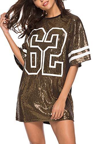 Damen T Shirt Kleid Sommerkleider Casual Kurzarm Pailletten Minikleid Gold XL
