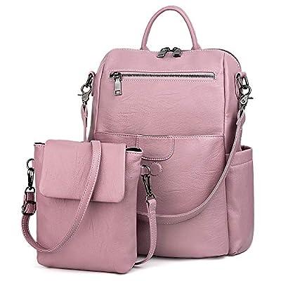UTO Women Backpack Purse PU Washed Leather Ladies Rucksack Detachable Crossbody Shoulder Bag Light Purple