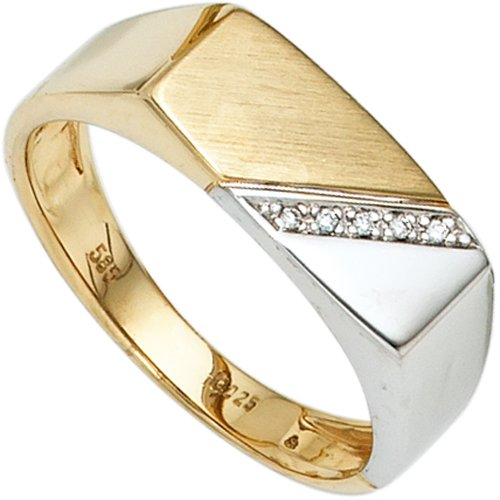 Anillo de los hombres anillo con 5 diamantes brillantes 585 oro amarillo oro blanco