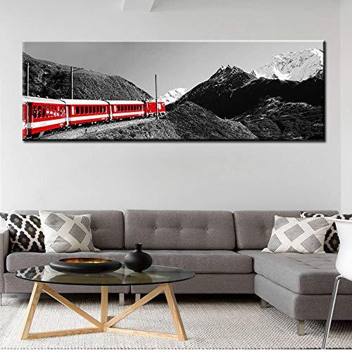 TXTYUMR Tren Rojo Paisaje Pared Arte Lienzo Pintura Imprimir Carteles e Impresiones Lienzo Pintura para decoración de Sala de Estar   sin Marco