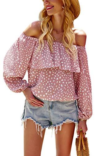 Hibluco Women's Casual Off Shoulder Tops Puff Sleeve Shirt Ruffle Blouse