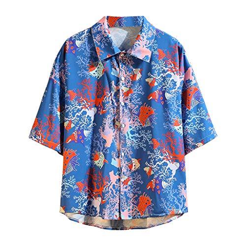 CAOQAO Camisa Hombre Hawaiana Manga Corta Verano Spagnolo Fashion Impresión Funky Seis Colores Suelto y cómodo