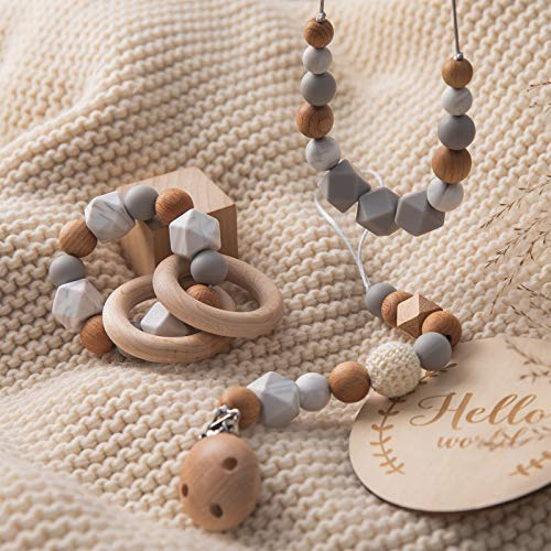 Baby Three-Piece Teething Toys Pacifier Clip Silicone Teething Necklace Wooden Teething Ring Baby Bracelet Baby Teether Toys,Marble
