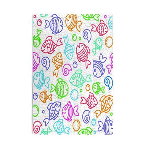 Rompecabezas grande de 1000 piezas, dibujo a mano patrón sin costuras con divertidos peces, juegos para niños y adultos, la mejor opción de graduación para todas las edades