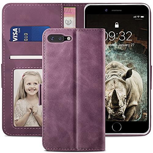 YATWIN Cover Compatibile con iPhone 8 Plus, Custodia per iPhone 7 Plus, Flip Portafoglio in Pelle Premium Slot Case, Supporto Stand e Chiusura Magnetica Cover per iPhone 8 Plus / 7 Plus - Vino Rosso