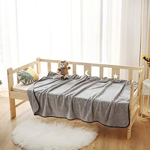 wometo Wohn- und Kuscheldecke Kinderdecke Plüsch 130 x 170 cm grau - OekoTex Sofadecke mit Paspel Microfaser kuschelig und weich, wohlig warm