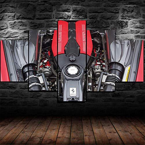 Yywife Leinwanddrucke Kreatives Geschenk 5 Stück Leinwand Bilder Hd Drucke Poster Abstrakt Ferrari 3,9-Liter-Twin-Turbo-V8 Moderne Wandbilder XXL Wohnzimmer Wohnkultur