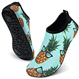 FEETCITY Womens Mens Water Shoes Barefoot Polyester Quick-Dry Aqua Water Shoes Beach Swim Sports Yoga Green Pineapple S(W:5.5-6.5,M:5-5.5)