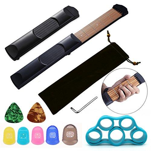 Tragbares Gitarren-Übungswerkzeug mit 6 Bünden, aus Holz, für Anfänger, Akkord-Trainer mit 5 Silikon-Fingerspitzenschützern, 2 Stück 0,71 mm, Gitarrenplektren und Fingertrainer.