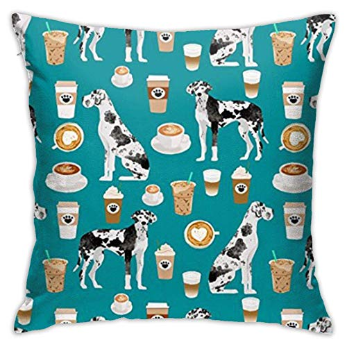 Hangdachang Great Dane Coffee Cute Dog Soft Decorative Square Throw Pillow Covers Cushion Cases Pillowcases for Sofa Bedroom Car 18 X 18 Inch