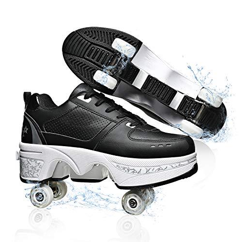Multifuncionales Zapatos De Deformación Patines Ajustables Cuerpo De Zapato Liviano Cuatro Ruedas Zapatillas De Deporte Transpirables Viaje Seguro