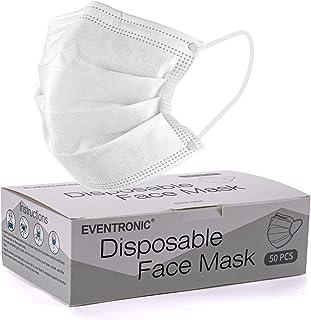Masque jetable Eventronic avec boucles d'oreilles élastiques, trois couches, taille unique, adapté à tous (pack de 50)