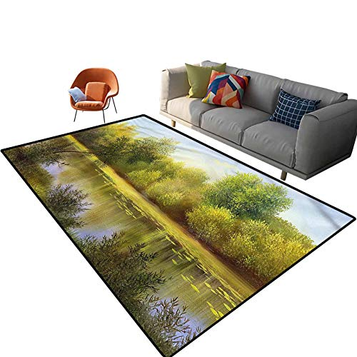 Indoor Room Tree Area Rugs,6'x 9',Autumn Still Lake Pastoral Floor Rectangle Rug with Non Slip Backing for Entryway Living Room Bedroom Kids Nursery Sofa Home Decor