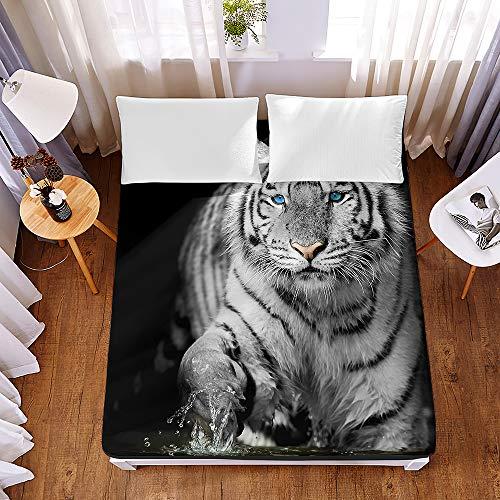 Chickwin Sábana Bajera Ajustable Colchones Decorativa, Microfibra 3D Tigre Impresión Suave Cómoda Transpirable Tela- Elástico en el Borde Bolsillo Profundo 30cm (Tigre Blanco,180x200x30cm)