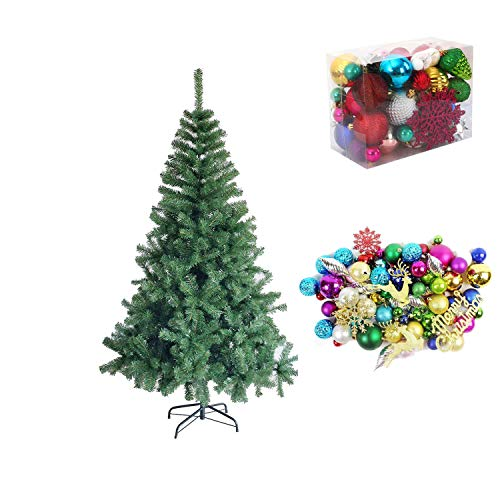 zhenxing Christmas Artificial Tree, Xmas Pine Tree, Includes Metal Stand, Easy Assembly, 30 Pack Christmas Tree Ornaments Set, for Home Office Party Holiday Decorations, 4/5/6/7ft (4ft)