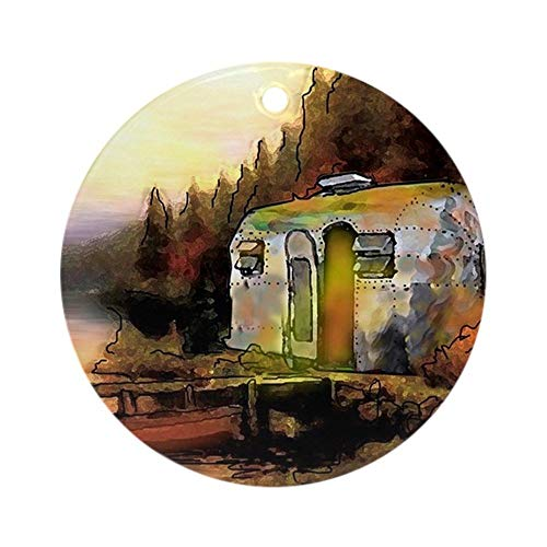 Yilooom Airstream Camping Round Holiday Christmas Ornament Hanging Christmas Decoration Gift Ceramic Ornament Xmas Special Keepsake Porcelain Art Display - 3' In Diameter