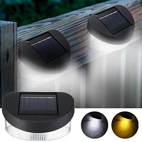 MASUNN Solar Power 8 LED Mur Lumière Extérieure Étanche Ip65 Lampe De Clôture De Jardin-Blanc