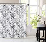 Fmfunctex Black White Fabric Shower Curtain 72' Waffle Weave Textured Tree Branch Print Bathroom Curtain for Buthtub Hotel Water Resistant Window Curtain