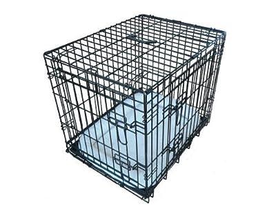 ellie-bo Deluxe extra fuerte 2puerta plegable perro perrito de la jaula con cama de matrimonio oveja sintética grande
