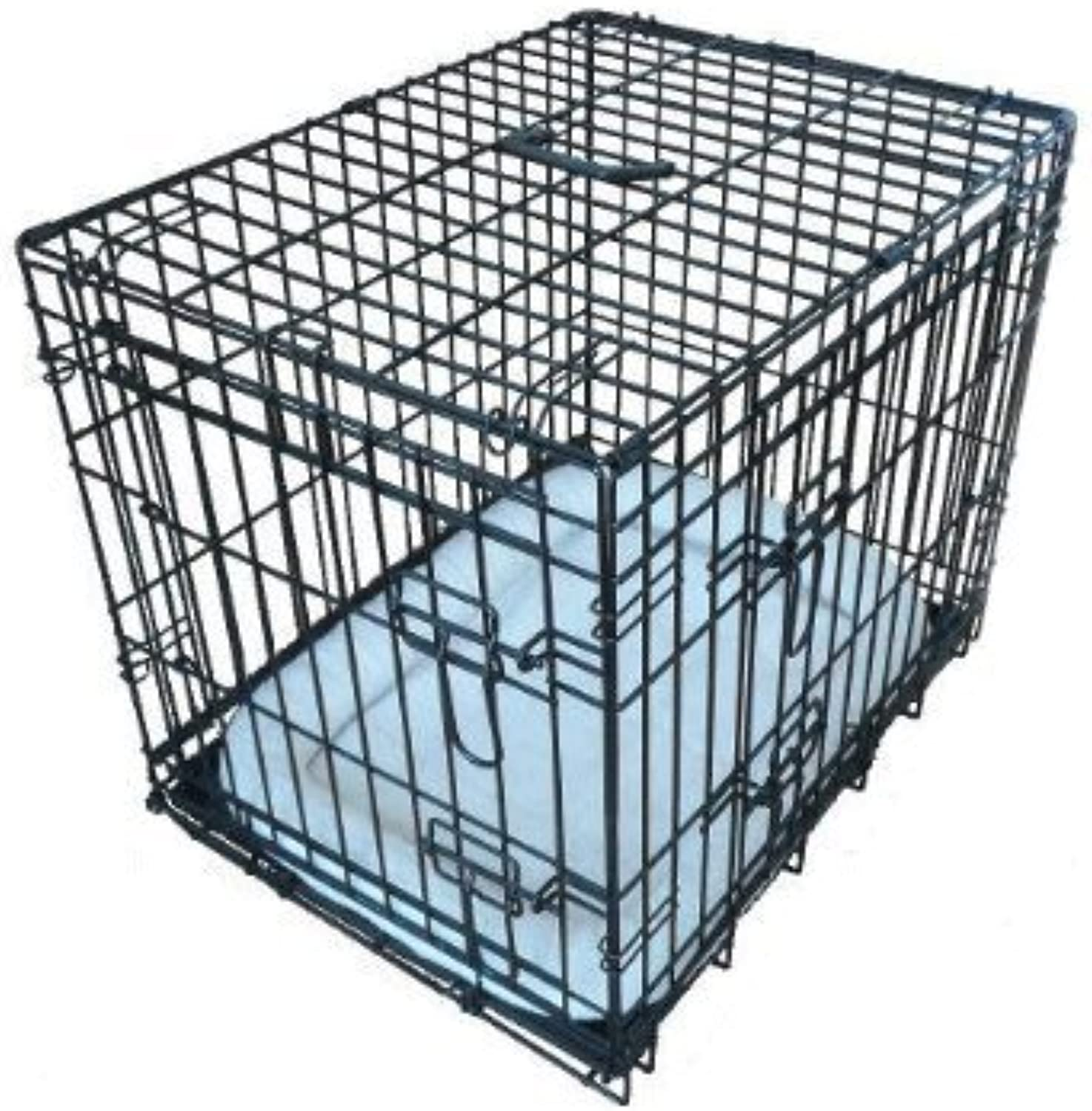 EllieBo Deluxe Extra Strong 2 Door Folding Dog Puppy Cage with Faux Sheepskin Bed Medium 30 inch Black