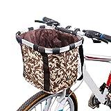 HSKB Fahrradkorb, Lenkerkorb Korb Car Front Bag Hinterradkorb Gepäckträgerkorb aus Weide für Gepäckträger Vorne für Universal Fahrrad Mountain Road Bike Fahrradzubehör (28 × 25 × 22 cm) (Kaffee)