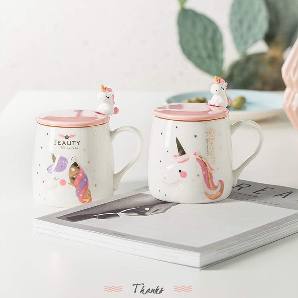 Unicorn Mug Cute Ceramic Coffee Mug with lovely Unicorn Spoon Pink Unicorn Morning Cup Novelty Coffee Tea Milk Christmas Mug Gift for Girls Magic unicorn Lovers 380ML