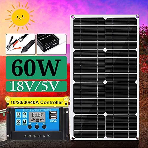 HIGHKAS 60W 12VSolar Panel Kit Polykristallines Panel mit Laderegler für RV-Solarlade-Off-Grid-System mit 10AC-Regler