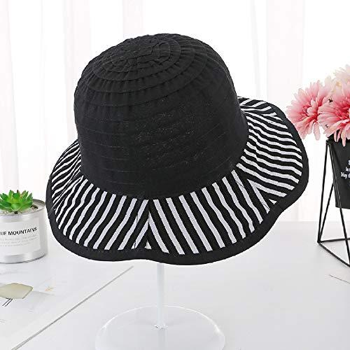 sdssup Sombrero para el Sol Sombrero a Rayas Sombrero de Tela Protector Solar Sombrero de Pescador Negro M (56-58cm)