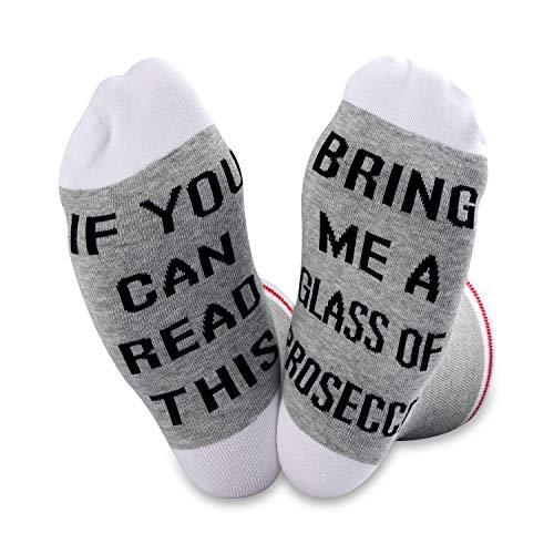Als u dit kunt lezen Breng me een glas van Prosecco grappige bemanning sokken wijn minnaar cadeau