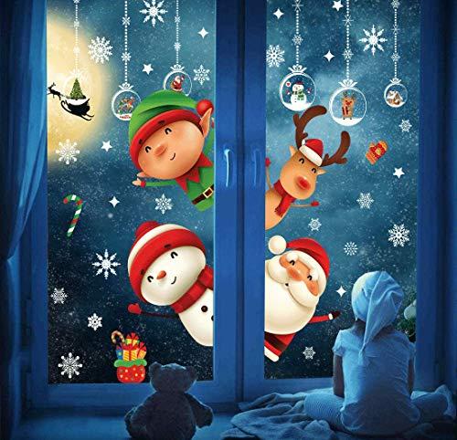 DURINM Natale Vetrofanie Adesivo Natale Adesivi Porta Natale Vetrofanie Addobbi Fai da Te Finestra Sticker Decorazione Babbo Natale Adesivo Vetrina
