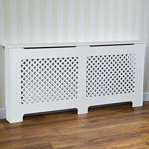 Vida Designs Oxford Radiator Cover White Traditional Painted MDF Cabinet, Extra Large