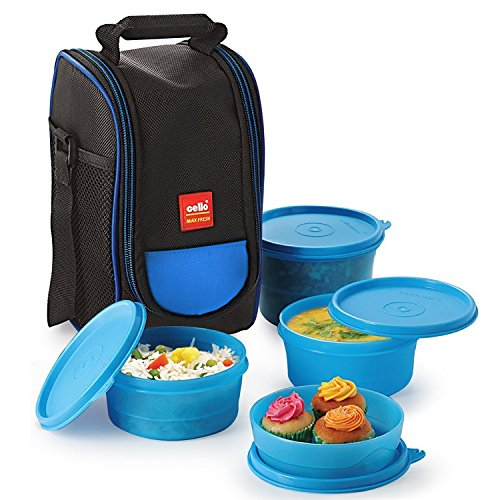 Cello Max Fresh Super Polypropylene Lunch Box Set, 4-Pieces, Blue