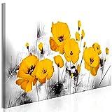 murando Akustikbild Blumen Mohn 120x40 cm Bilder Hochleistungsschallabsorber Schallschutz Leinwand Akustikdämmung 1 TLG Wandbild Raumakustik Schalldämmung - grau gelb b-A-0511-b-a
