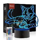 Cadeau De Noël Magique Kawaii Kitten Lampe 3D Illusion 16 Couleurs Tactile Interrupteur USB Insérer LED Lumière Cadeau D'anniversaire et Décoration De Fête
