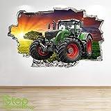 1Stop Graphics Shop Tractor Wandaufkleber 3D Optik -