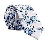 Kebocis Mens Blue Floral Necktie Skinny Tie White