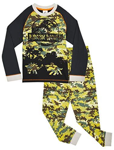 Jurassic World Pijama Niño, Pijama Dinosaurio Estampado Camuflaje, Pijamas de Dos Piezas Camiseta Manga Larga y Pantalones, Regalos Originales para Niños 3-12 Años (3-4 años)