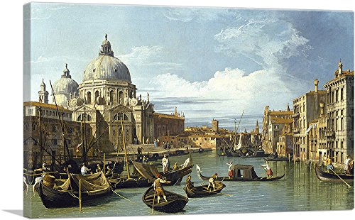 """ARTCANVAS The Entrance to The Grand Canal - Venice 1730 Canvas Art Print by Canaletto - 26"""" x 18"""" (0.75"""" Deep)"""