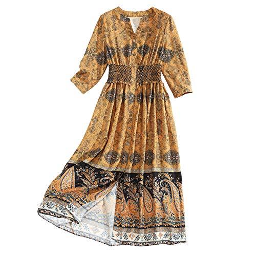 BINGQZ Cocktail Jurken Gele gedrukte jurk lange vrouwen casual mode een woord rok