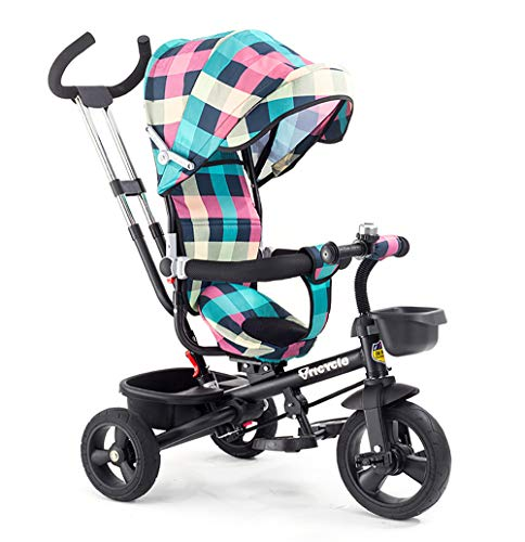 JINHH Triciclos Bebes, Smart Trike Plegable, 4 en1 Trike Bicicleta para, Reposapiés Plegable-Asiento Regulable-Estructura Tubular de Metal Triciclo Evolutivo Plegable Correpasillos 5 años