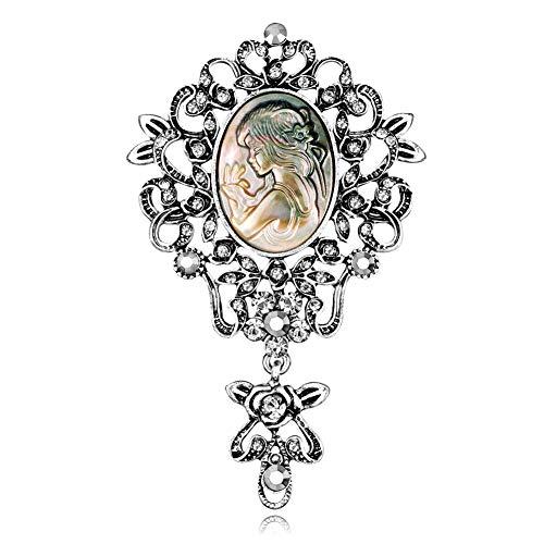 msyou 1pc tempérament damas broche pines Creux broche couverte Foulards Ornements Clip de solapa para las mujeres novia boda 7.5 * 4.7cm plata