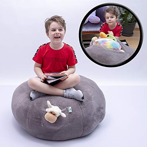 Kroco Luxury Edition Stuffed Animal Storage Bean Bag Chair Cover - Toy Storage Beanbag - Replace Boxes, Mesh Hammock Net -Toys Bean Bags Chairs for Kids, Stuff Blankets/Pillows Too - 38´´Grey, Plush