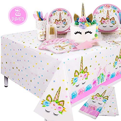 Qoosea Unicorn Einweg-Tischdecke Geburtstagsparty Dekoration Lieferungen Küche Picknick im Freien Tischdecke (2Pack)