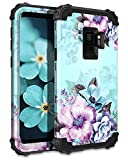 Casetego Compatible with Galaxy S9 Case,Floral Three Layer Heavy Duty Hybrid Sturdy Shockproof Full Body Protective Cover Case for Samsung Galaxy S9-Blue Flower