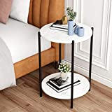 Small Round SideTable with Faux White Marble Tabletop,2 Tier Modern Nightstand with Storage Shelf,Black(White Surface/Black feet)
