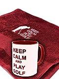 BGSP - Regalo Golf | Taza (Golf Legend | Love | Keep Calm) + Toalla para Golf con Gancho para Bolsa de Palos | Unisex Golfistas (Taza Roja-Blanca y Toalla Roja)