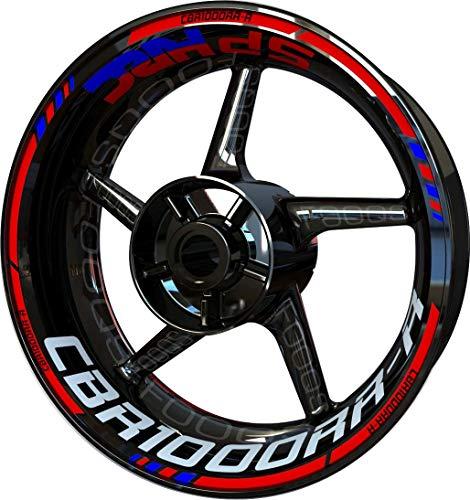 Motocicleta Moto Llanta Inner Rim Tape Decal Pegatinas F2 para Honda CBR 1000 RR-R CBR1000RR-R 1000RR-R (Rojo/Azul)