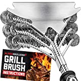 Alpha Grillers Grill Brush Bristle Free. Best Safe BBQ Cleaner with Extra Wide Scraper. Perfect 17 Inch Stainless Steel Tools for All Grill Types, Including Weber. Ideal Barbecue Accessories