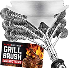 Grill Brush Bristle Free. Best Safe BBQ Cleaner with Extra Wide Scraper. Perfect 17 Inch Stainless Steel Tools for All Grill Types, Including Weber. Ideal Barbecue Accessories. by Alpha Grillers